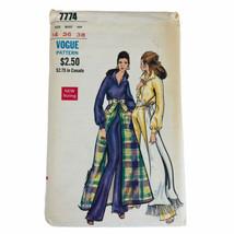 Vintage Vogue 7774 Pattern Boho Jumpsuit Open Skirt Size 14 Uncut Factory Folded - $22.28