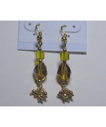 Brown and yellow drop earrings - $5.00