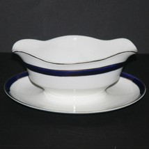 Bleu De Roi Alfred Meakin England Gravy Boat & Underplate 40's, Cobalt B... - $12.16