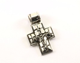 Vintage Textured Religious Cross Pendant 925 STERLING PD 1668 - $29.99