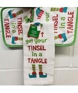 3pc SET:2 JUMBO POT HOLDERS &1 MICROFIBER TOWEL,DON'T GET YOUR TINSEL IN... - $12.86