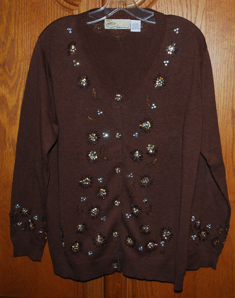 Primary image for Vintage Storybook Knits Large Cardigan Sweater Brown Dazzling Flair HSN Clothing