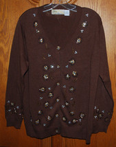 Vintage Storybook Knits Large Cardigan Sweater Brown Dazzling Flair HSN ... - $35.59