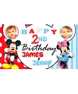 Mickey & Minnie Mouse Twins w/ 2 Photos Custom Birthday Banner Party Dec... - $39.95
