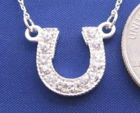 """Clear CZ HORSESHOE 18"""" Necklace 925 Silver N16.A"""