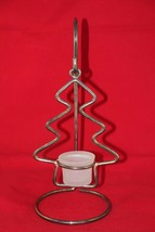 "Silverplated Hanging Christmas Tree with Stand 12"" Tealight Holder - $13.37"