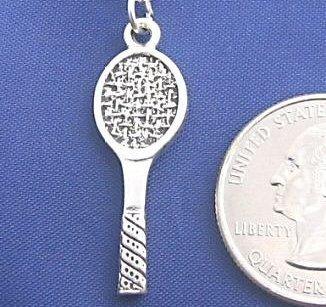 TENNIS RACQUET 24 Inch MENS Necklace Pendant 925 Silver N21.C