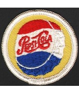 Vintage uniform patch PEPSI COLA script bottle cap logo unused new old s... - $12.99