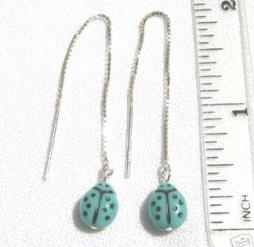 ccj Turquoise Blue LADY BUG String Earrings Silver A153