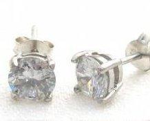 ccj CLEAR CZ 6mm Round Stud Earrings 925 Silver SJ33.A