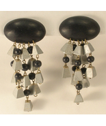 Wooden Very Long Silver and Black Dangle Clip On Earrings Light Weight - $11.50