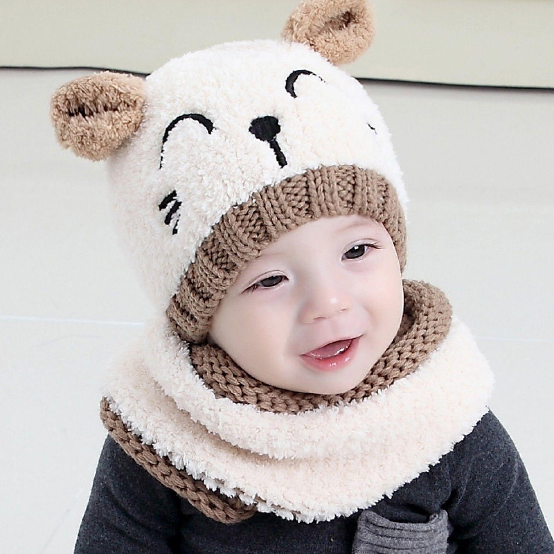 187f2e9c085 Baby Cap Cute Crochet Beanie Bear Scarf Hat Caps Hats Toddler Kids Winter  Autumn