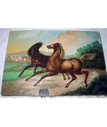 Two Running Horses Antique Chromolithograph Print-Excellent  - $42.00