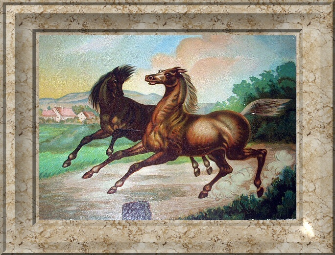 Two Running Horses Antique Chromolithograph Print-Excellent