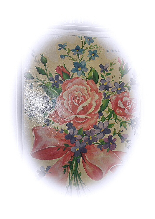 Vintage MEYERCORD DECALS-#X502-A,Unused Bouquet Of Pink Rose