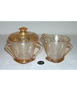 Jeannette Floragold Iridescent Creamer And Sugar W/ Lid - $19.95