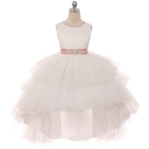 Ivory Satin Bodice Hi-Low Layers Tulle Skirt Rhinestones Blush Sash Girl... - $89.95+