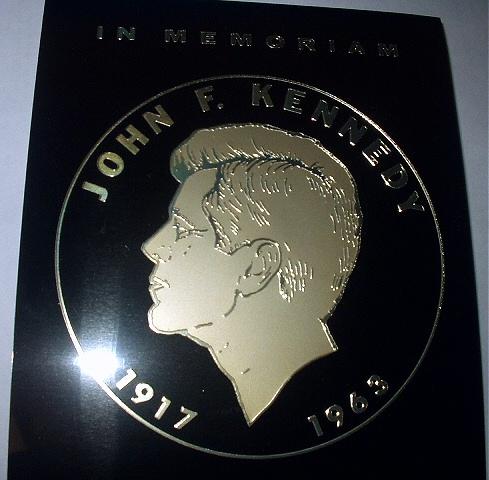 RARE-1960s JOHN F. KENNEDY COMMEMORATIVE METAL DECAL