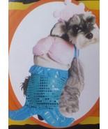 BLUE IRIDESCENT SHINY SEQUIN 2-PIECE MERMAID DOG COSTUME DRESS & CROWN L... - $4.99