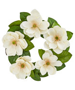 "23"" Magnolia Artificial Wreath, Nearly Natural 4345 - $65.21"