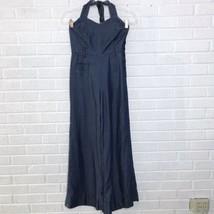 Anthropologie Elevenses Sharlene Halter Denim Jumpsuit Size 0 Retro Cham... - $46.47