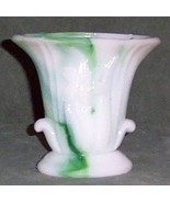 Akro Agate - Green Swirl Glass Vase - $9.90
