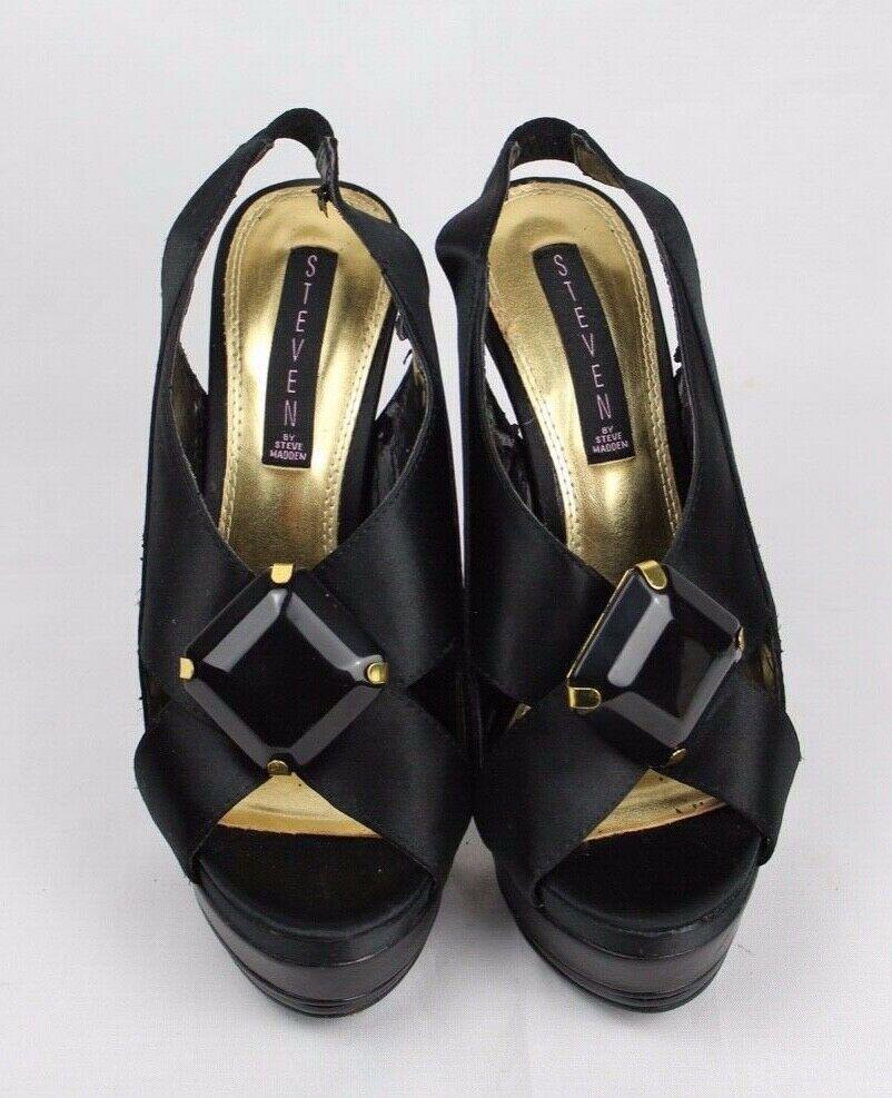 Steven par Steve Madden Rockz Femme Satin Noir Sandales Chaussures Taille 7,5