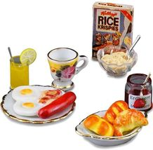 Dollhouse Farmer's Breakfast 1.836/6 Reutter Sausage Eggs Jam Miniature - $42.25