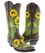 Womens Brown Sunflower Embroidered Leather Cowgirl Boots Snip Toe - €74,50 EUR