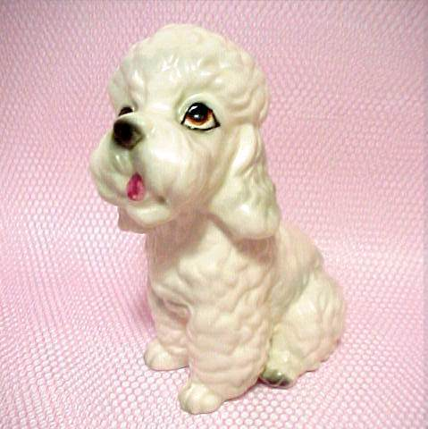 Vintage Lefton China Porcelain Poodle Dog Figurine Puppy