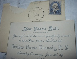 Used 1887 Franklin 212 STAMP-NEW Years Ball Invite - $38.00