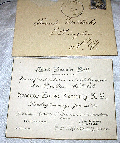 USED 1887 FRANKLIN 212 STAMP-NEW YEARS BALL INVITE