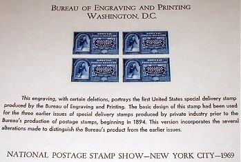 MINT COLLECTION ENGRAVING-SPECIAL DELIVERY POSTAL STAMPS