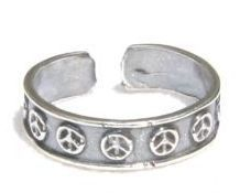 ccj PEACE SIGN Symbol Band TOE RING 925 Silver T01.D