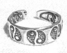 ccj Yin Yang TOE RING 925 Sterling Silver Ying BS14