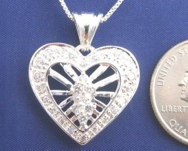 HEART CLEAR CZ 18 Inch Necklace Pendant 925 Silver N37.A