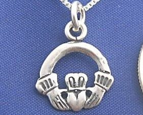 IRISH CLADDAGH 16 Inch Necklace 925 Silver Love N40.A