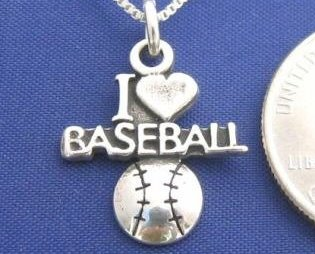 I LOVE BASEBALL 18 Inch Necklace 925 Silver Sport N48