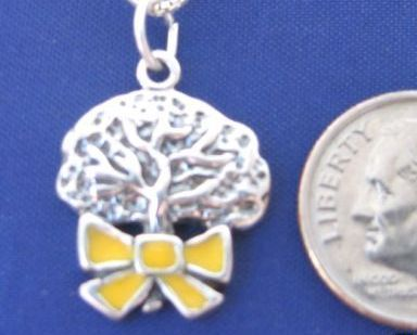 "ccj YELLOW RIBBON OAK TREE 18"" Necklace 925 Silver Love N13."