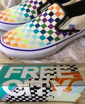 FREE CITY x VANS collab slip-on rainbow checkerboard shoes limited NEW N... - $193.32