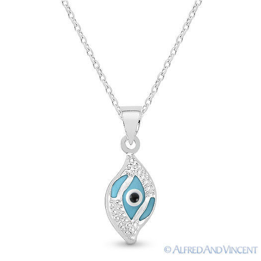 Evil Eye Glass Bead Greek Turkish Nazar Hamsa Pendant Sterling Silver Necklace image 2