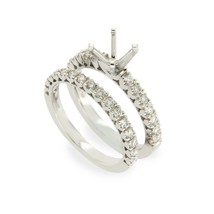 18K White Gold 0.62 CT Diamonds Semi Mount Engagement Ring Size 6 »N23 - £726.00 GBP