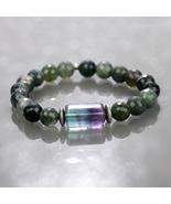 Moss Agate, Fluorite & Hematite Beaded Gemstone Stretch Bracelet for Wom... - $29.99