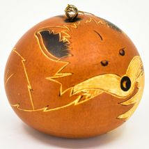 Handcrafted Carved Gourd Art Orange Fox Forest Animal Ornament Made in Peru image 4