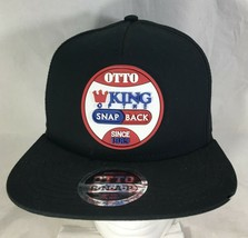 Otto King Of The SnapBack Baseball Hat Black Rubber Badge Manufacturer P... - $19.80