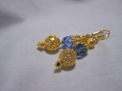 Filagree sapphire blue czech leverback or clip on earrings