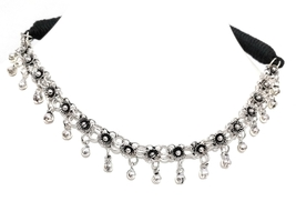 Indian Thread Necklace Black Oxidized silver Meal Bead Women Jewelry Tra... - $21.98