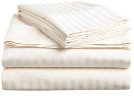 IVORY STRIPE QUEEN SIZE 4 PIECE BED SHEET SET 800TC 100% EGYPTIAN COTTON - $55.44