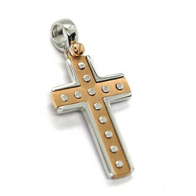 SOLID 18K WHITE & ROSE GOLD SQUARE CROSS, 1.1 INCHES, WORKED, SATIN & SMOOTH