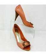 BCBGirls Women's Leather Pumps, Size 7 B, Orange Peep Toe with Buckle Ac... - $37.01